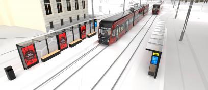 Digitaalinen ulkomainos näyttö ratikkapysäkillä Tampereella konseptikuva